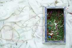 Potpourri Box. A decorated wooden box used for filling in potpourri for wedding ceremony Royalty Free Stock Photo