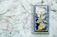 Potpourri Box. A decorated wooden box used for filling in potpourri for wedding ceremony Royalty Free Stock Image