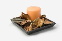 Potpourri and candle. Composition of potpourri and candle Stock Photos