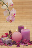Potpourri with Candles and Orchid Stock Image
