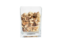 Potpourri in clear glass container. 