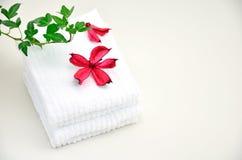 Potpourri de roses et essuie-main blancs. Photos libres de droits