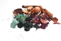 Potpourri and drops of water Stock Image