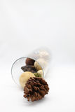 Potpourri in glass. Various of Scented Beige Potpourri Balls stock photo