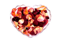 Potpourri in heart shaped container Royalty Free Stock Photos