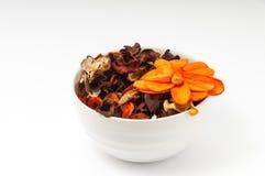 Potpourri. With orange flower on white background Royalty Free Stock Photo