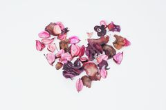 Potpourri placed the heart of love. Scented lilac potpourri placed the heart of love royalty free stock photos