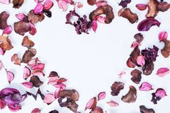 Potpourri placed the heart of love. Scented lilac potpourri placed the heart of love stock photos