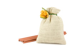 Potpourri sachet with aroma sticks Royalty Free Stock Images