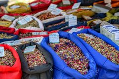 Potpourri shop at farmer`s market in Freiburg royalty free stock image
