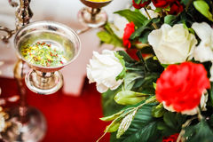 Potpourri silver bowl Royalty Free Stock Images
