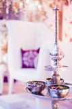 Potpourri silver bowls and fragrance pot Royalty Free Stock Image
