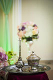 Potpourri silver bowls and fragrance pots Royalty Free Stock Photography