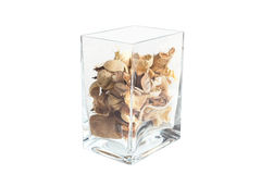 Potpourri w jasnym szklanym zbiorniku Obraz Stock