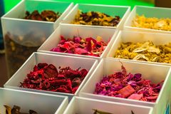 Potpourri in white boxes. Colorful scented potpourri in white boxes stock image