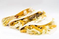 Potrójna taco kurczaka wołowina i wieprzowina meksykanina jedzenie Fotografia Stock