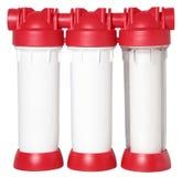 Potrójnej wody czyści filtr dla uzdatnianie wody odizolowywającej na bielu fotografia royalty free