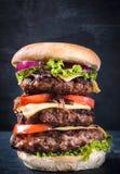 Potrójny hamburger Zdjęcia Stock