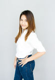 Potrait Asia lady mini smile in casual suite White Shirt and blu Stock Photo