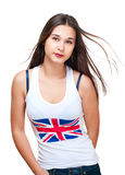 Potrait of asian girl wih britain. Flag on tank top isolated on white Royalty Free Stock Photography