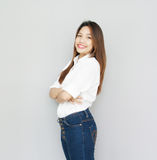 Potrait Asian lady smile in casual suite ,wear White Shirt and b Royalty Free Stock Photos