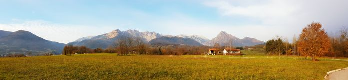 A potrait of autumn in the Pre-Alps. A countryside landscape in autumn with the mountain group Vette Feltrine in the background & x28;at Pedavena, Veneto, Italy Royalty Free Stock Photography