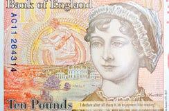 Potrait AV Jane Austin på tio pund anmärkning Royaltyfri Bild