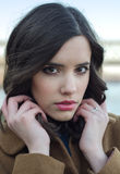 Potrait of beautifu fashionable girl outdoor. Potrait of the beautifu fashionable girl outdoor royalty free stock image