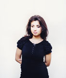 Potrait of beautiful woman in black dress Royalty Free Stock Image