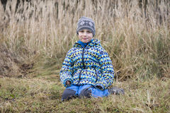 Potrait of boy in field in nature Stock Photography
