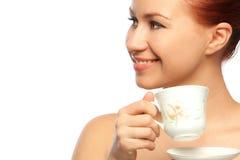 Potrait de la mujer con la taza de té Imágenes de archivo libres de regalías