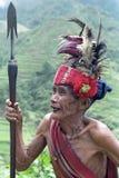 Potrait del guerriero molto anziano di Ifugao del filippino Fotografie Stock