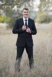 Potrait dello sposo con hairlight fotografie stock libere da diritti