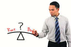 Potrait die van teller houden en zakenmanconcept, koopt of huurt, geïsoleerd op wit kiezen Stock Afbeelding