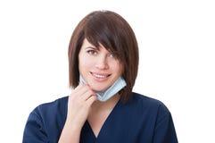 Potrait eines freundlichen Frauenzahnarztlächelns Lizenzfreie Stockfotografie
