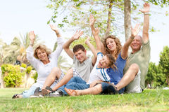 Potrait of family waving hands Royalty Free Stock Photography