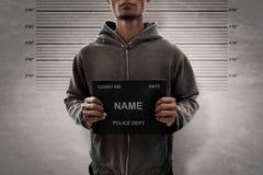 Potrait-Mann Mugshot des Verbrechers lizenzfreie stockfotos