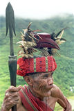 Potrait of very old Filipino Ifugao Warrior. Philippines, province Ifugao, island Luzon, village Banaue: close-up of an senior warrior in traditional dress with Stock Photos