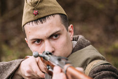 Potrait Of Young Re-enactor Dressed As Russian Soviet Infantry Soldier Of World War II Stock Photo