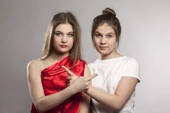 Potraits контраста сестер близнецов стоковые фотографии rf