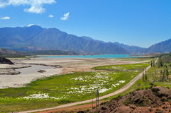 Potrerillos dam. Province of Mendoza. Argentina. Potrerillos dam.A large dam on the Mendoza River forms an artificial lake that measures 12 km in length and 3 km Royalty Free Stock Photos