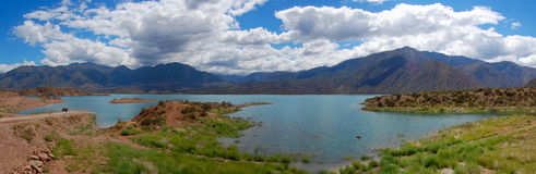 Potrerillos lake panoramic Stock Images