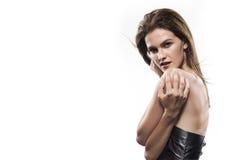 Potrtrait της νέας γυναίκας που απομονώνεται στο λευκό στοκ εικόνες με δικαίωμα ελεύθερης χρήσης