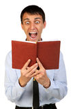 Potrtrait of young shocked bussines man Stock Images