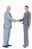Potrząsalne biznesmen i kobiety ręki Zdjęcie Royalty Free