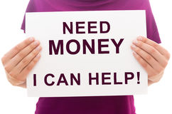 Potrzeba pieniądze? Mogę pomagać! Zdjęcie Stock