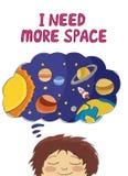 Potrzebuję więcej astronautycznego slogan z chłopiec marzy przestrzeń Fotografia Royalty Free