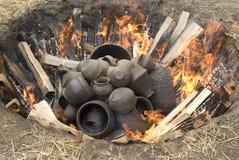Pots. Many clay pots in fire Stock Photo