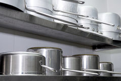 Pots. In a fournished kitchen restaurant royalty free stock photos