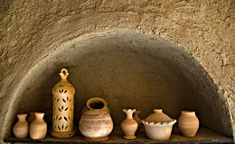 Pots. In Pottery factory in Bahla, Oman Stock Image